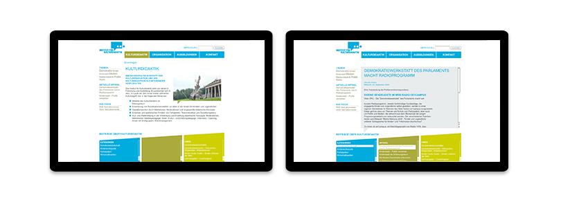 Müllers Freunde, Website, Webdesign Kulturdidaktik, Umsetzung